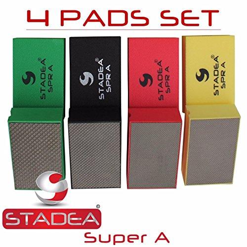 Stadea HPW107K Diamond Hand Polishing Pads - Glass Marble Concrete Stone Hand Polishing 4 Pads Set