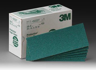 3M Green Corps 246U Coated Aluminum Oxide Sanding Sheet - 80 Grit - 3 23 in Width x 9 in Length - 02225 PRICE is per SHEET