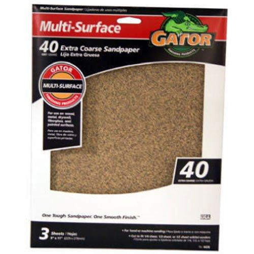 ALI INDUSTRIES Gator Finishing 4439 40 Grit Aluminum Oxide Sanding Sheets 3 Pack 9 x 11