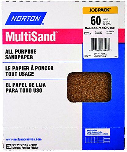 Norton AbrasivesSt Gobain 00152 9 x 11-Inch 60-Grit Aluminum Oxide Sanding Sheet - Quantity 50