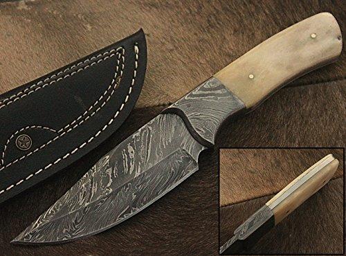 Randy knives RA-9002 Custom Made Damascus Steel Hunting Knife Bone Handle Damascus Bolster with Real Leather Sheath
