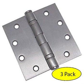 Dynasty Hardware Commercial Grade Ball Bearing Door Hinge 4-12 x 4-12 Full Mortise Brushed Chrome -- 3- PACK