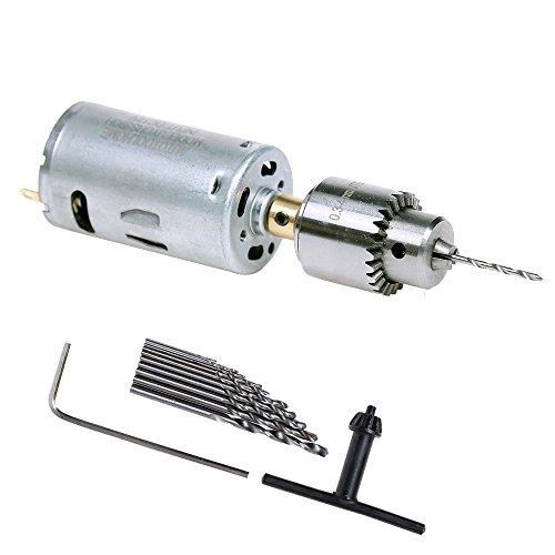 AUTOTOOLHOME Mini DC 12V Electric Hand Drill Motor PCB Twist Drills Set 188-16 inch JT0 Chuck Jewelry Craft Drill Kit