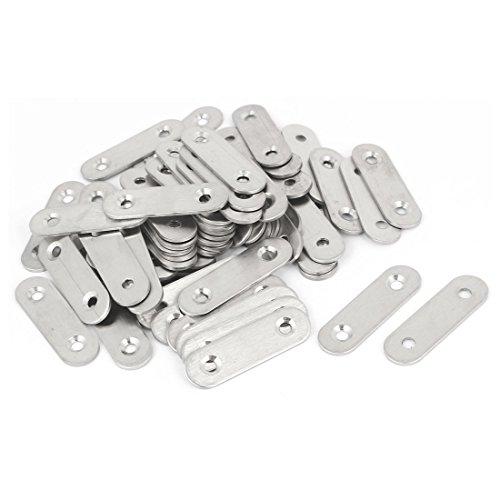 uxcell 50mm x 15mm x 2mm Stainless Steel Straight Bracket Flat Repair Plate 60PCS