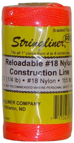 Stringliner 35159 250 Braided Nylon Construction Line Fluorescent Orange 14-lb Replacement Roll