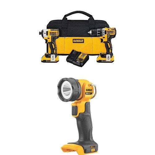 B01A08YKV6 DEWALT DCK283D2 MAX XR Lithium Ion Brushless Compact DrillDriver Impact Driver Combo Kit 20V with 20-Volt MAX LED Flashlight