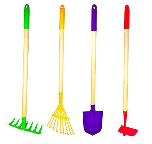 G F 10018 JustForKids Kids Garden Tools Set Rake Spade Hoe and Leaf Rake 4-Piece