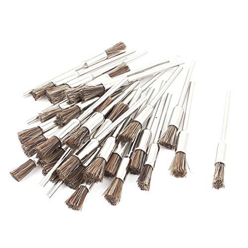 Round Shank Brown Bristle Pen Brush Polishing Buffing Tool 30 Pcs