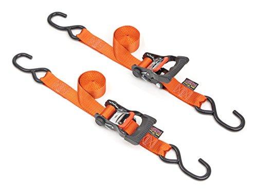 1½ x 7ft PowerTyeMfg Made in USA Ergonomic Locking Ratchet Tie-Downs with Heavy-Duty S-Hooks Orange pair