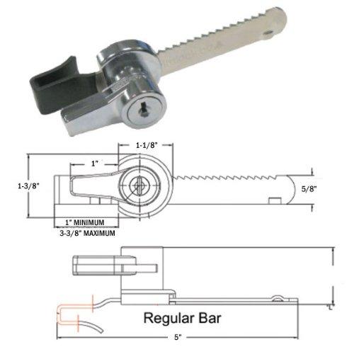 Chrome Ratchet Lock for Sliding Showcase Doors