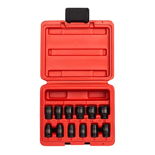 Sunex 1822 14 Inch Drive Magnetic Impact Socket Set 12-Piece Metric 5mm-15mm Cr-Mo Alloy Steel Radius Corner Design Dual Size Markings Heavy Duty Storage Case