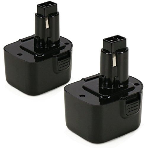 POWERAXIS 12V 2000mAh NI CD Replacement Power Tool Battery for BLACK DECKER A9252 A9275 PS130 Series Cordless Drill Black - 2 Packs