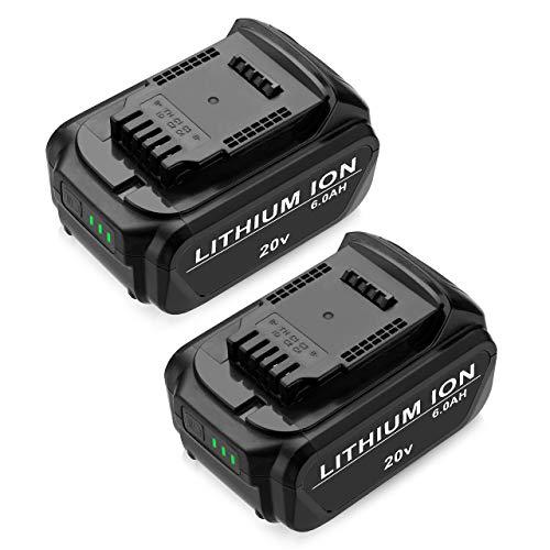60Ah Replace Dewalt 20V Replacement Battery  DCB205 DCB204 - Upgraded Li-ion Battery 2Pack for All Dewalt 20V Cordless Power Tools DCB180 DCB200 DCB204-2 DCB205-2 DCB206 Dewalt DCDDCFDCG Series
