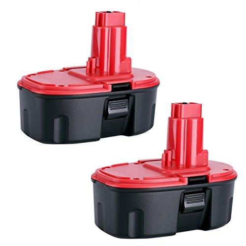 Biswaye 2Pack DC9096 18V Replacement Battery for Dewalt 18-Volt Cordless Power Tools Battery Pack DE9096 DE9098 DW9095 DW9096 DW9098 DE9503 DC9099 DC9098 DE9039 DE9095 Ni-CD