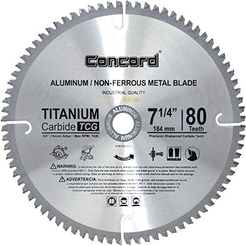 Concord Blades ACB0725T080HP 7-14-Inch 80 Teeth TCT Non-Ferrous Metal Saw Blade
