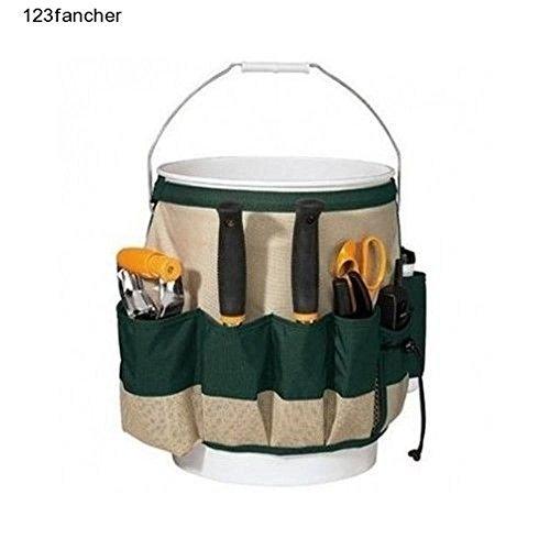 Gardener Bucket Caddy Garden Tool Holder Pockets Tools Belt Carrier Organizer