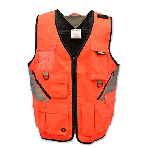 KwikSafety Reflective Tool Vest with Pockets Heavy duty Hi Vis Multipurpose Utility Vest Electrician Construction Surveyor Carpenter ANSI Standard Safety Vest Orange with pockets LXL