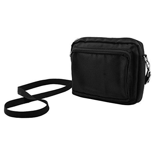 uxcell Unisex Canvas Double-deck Ajustable Waist Belt Buckle Closure Tool Bag Pouch Black