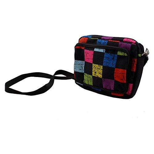 uxcell Unisex Canvas Double-deck Ajustable Waist Belt Buckle Closure Tool Bag Pouch Colorful