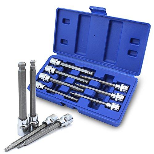 XtremepowerUS 7PCs Ball End Long Standard MM Hex Allen Bit Sockets Wrench 3mm-10mm