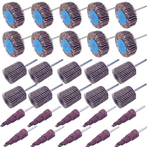 Sackorange 30 PCS Abrasive Flap Wheel Sander80 Grit 18 Shank Diameter Cone Shape Abrasive Sandpaper Flap Sanding Wheel Grinding Head Rotary Tool for Grinding and Polishing