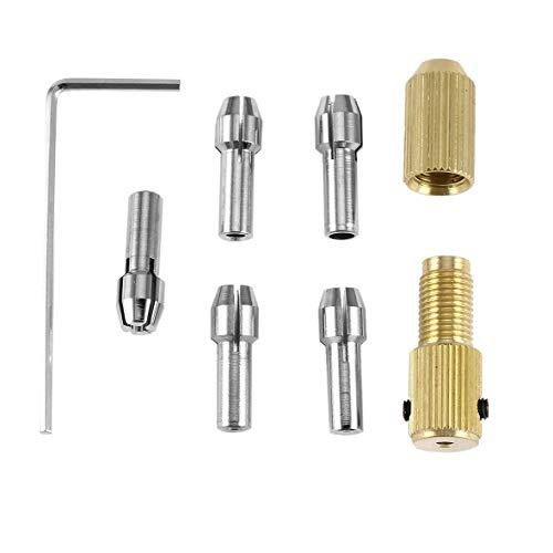 AMPM24Primeridian 8Pcs 05-3mm Small Mini Electric Drill Bit Collet Micro Twist Chuck Tool Kit Adapter Small Electric Drill Stand Accessories