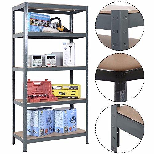 72 Heavy Duty Steel 5 Level Garage Shelf Metal Storage Adjustable Shelves Unit