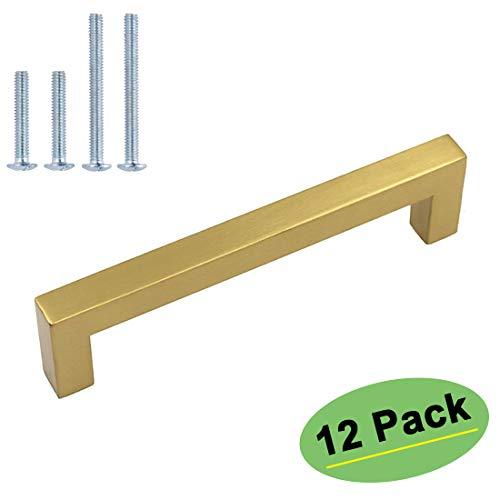homdiy Brushed Gold Cabinet Pulls Gold Hardware for Cabinets - HDJ12GD Drawer Pulls Handles for Dresser Drawers 5in128mm Hole Centers Furniture Hardware 12 Pack