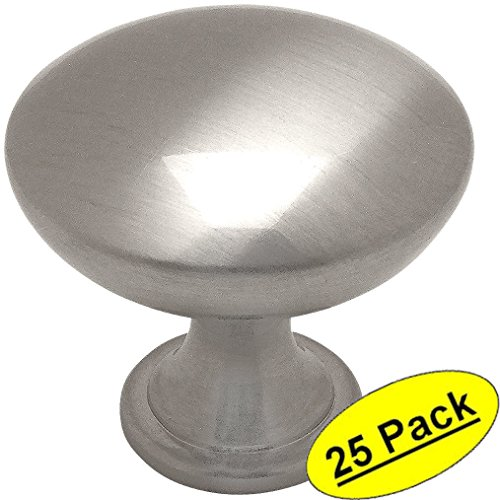Cosmas5305SN Satin Nickel Traditional Round Solid Cabinet Hardware Knob - 1-14 Diameter - 25 Pack