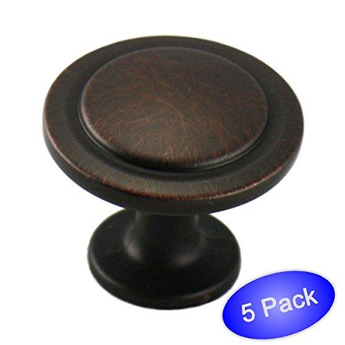 Cosmas5560ORB Oil Rubbed Bronze Cabinet Hardware Round Knob - 1-14 Diameter - 5 Pack