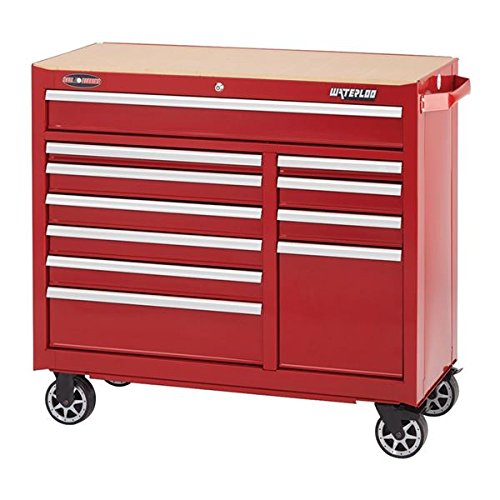 Waterloo WATWCA-4111RD Red Rolling Cabinet Width 41  Depth 18  Height 40-34 Non-Carb Compliant