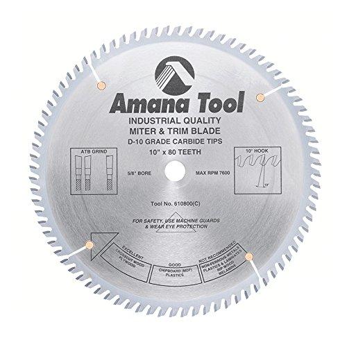 Amana Tool 610800 Fine Trim 10-Inch x 80 Tooth ATB 58-Inch Bore Saw Blade