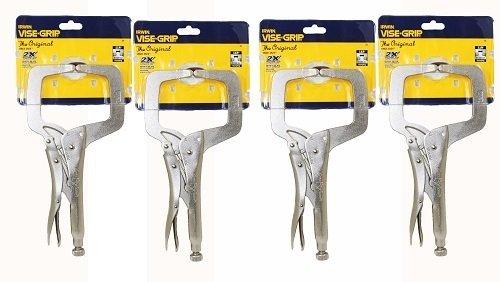 IRWIN Vise Grip 11R 11-Inch Regular Tip Locking C-Clamp 4 Pack