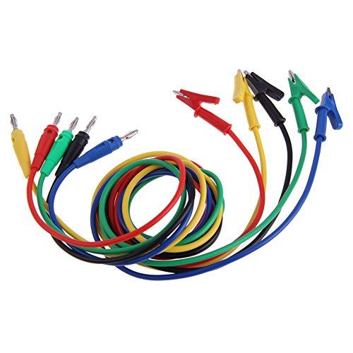 Chinatera 5PCS 1M3Ft Colorful Silicone Banana Plug Male to Crocodile Alligator Clip Test Probe Lead Wire Clamp Clip Cable