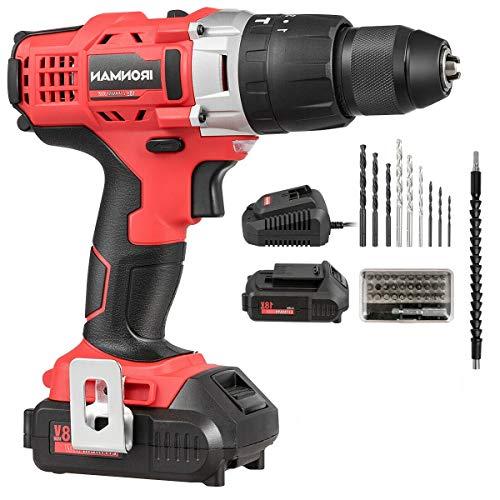 18V Cordless Drill Driver Impact Tool Kit 12 Chuck 2000mAh Li-Ion wLED LightJikkolumlukka