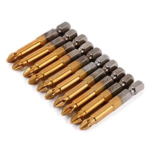Xcsource 5pcs 50mm PH2 14 Hex Shank Magnetic Phillips Head Screwdriver Bits Titanium Coated S2 Steel Power Tools BI214
