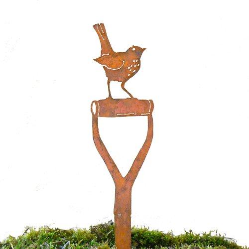 Elegant Garden Design Baby Robin Shovel Handle Steel Silhouette with Rusty Patina