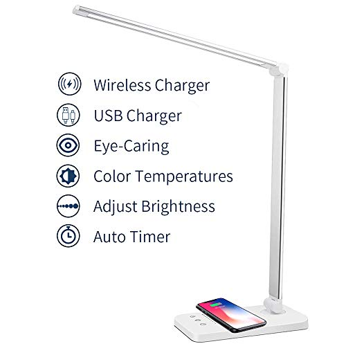 MCHATTE LED Desk Lamp Dimmable Table Lamp with Wireless Charger Eye-Caring Office Lamp with USB Charging Port 5 Brightness Levels 5 Lighting Modes Touch Control Auto Timer