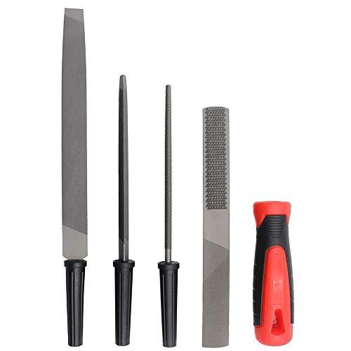 Files Rasps YUFUTOL File Handles 5pcs High Carbon Hardened Steel Professional Hand File Set(FlatRoundTriangular FileHalf Round Steel carpenters File Comfortable Rubber Hand Grip)For MetalWood