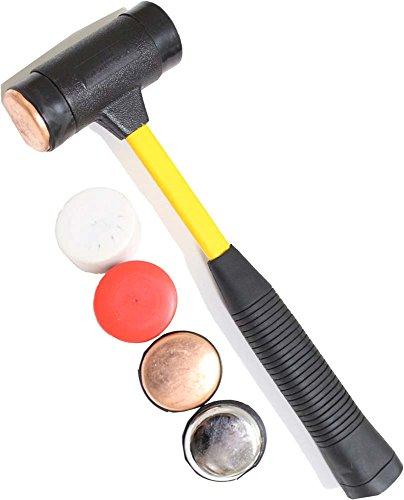PURPLE STAR HAMMER CO 12-Inch Rubber Mallet Hammer with 4 Interchangeable Heads - Brass Steel Nylon Plastic