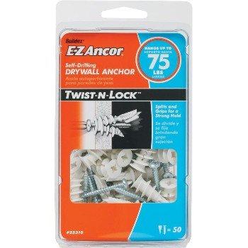 Twist-N-Lock_Drywall Anchor 75 lb _Pack of 50