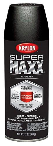Krylon K08985000 SUPERMAXX All-In-One Spray Paint Black Hammered 12 Ounce