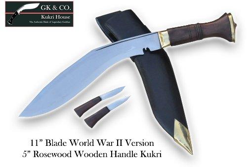 Genuine Gurkha Kukri Knife - 11 Blade World War II Wooden Handle Kukri - Handmade by GK&CO Kukri House in Nepal