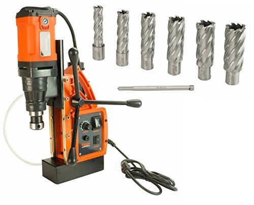 "Cayken SCY-42HD 165 Magnetic Drill Press with 1700W Variable Speed Motor Weldon Shank 7 Piece 2"" Cut Depth Annular Cutter Kit"