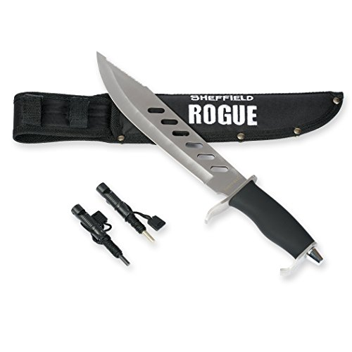 SHEFFIELD Rogue 10-inch Fixed Blade Hunting Knife W Bonus Sheath Firestarter Sharpener