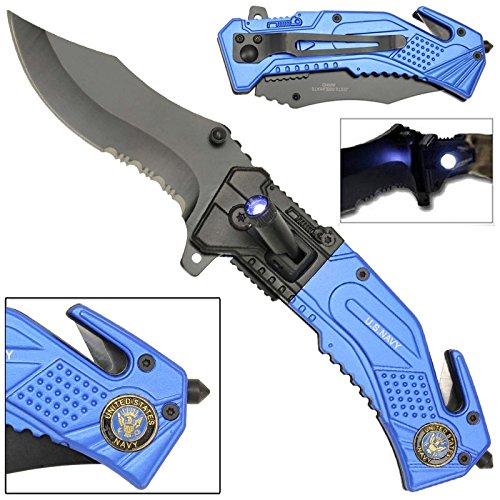Spring Assist LED Tactical Rescue Knife US Navy