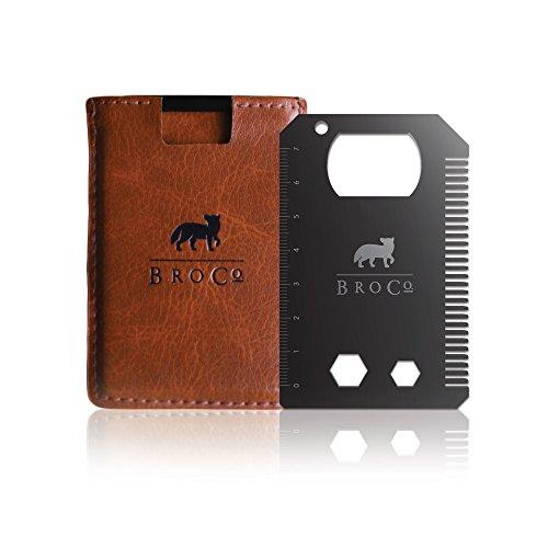 BroCo - The Original BroCard - Titanium Multitool Card Black with Slim Leather Wallet Brown