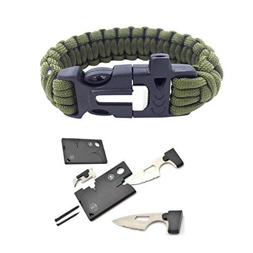 Survival Bracelet and Credit Card Multitool Kit