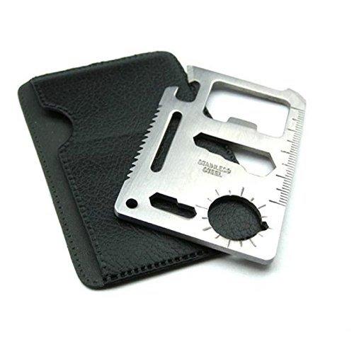 Dorlaer 11 Function Stainless Steel Credit Card Size Survival Kit Multi Tool Outdoor Tool Bottle Opener 11 Function Multi Tool