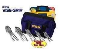 Irwin 5 Piece Locking Pliers Set 10R 10WR 7CR 5WR 6LN and Kit Bag
